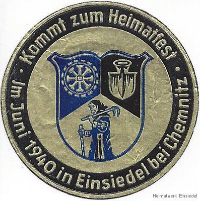 Werbeplakette Heimatfest Einsiedel 1940