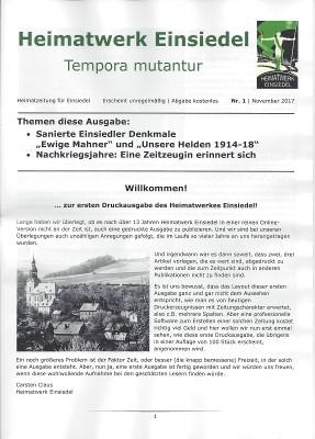 Heimatwerk Einsiedel Druckausgabe Nr. 1