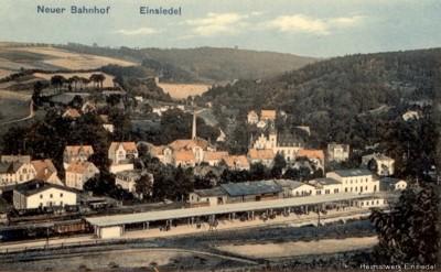 Lithografie Bahnhof Einsiedel mit Bahnsteigüberdachung