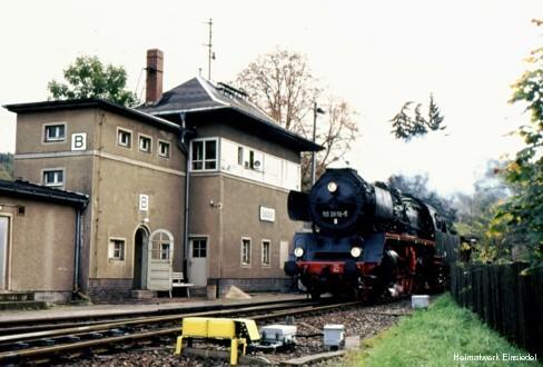 Dampflokeinfahrt in den Einsiedler Bahnhof