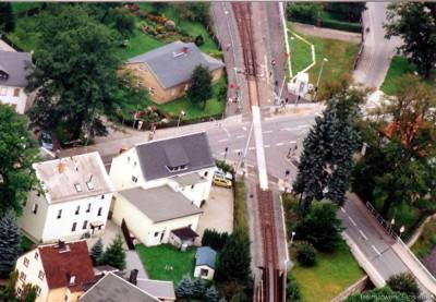 Luftbild Bahnübergang Einsiedel August 2005