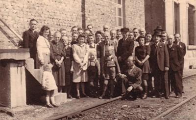 Belegschaft Bahnhof Einsiedel 1949