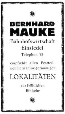 Werbeannonce Bahnhofswirtschaft 1926