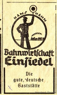 Werbeannonce Bahnhofswirtschaft um 1935