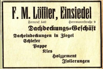 Annonce Dachdecker Löffler um 1935