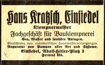 Werbeanzeige Klempnerei Hans Kratzsch Einsiedel 1935