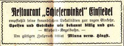"""Reklameanzeiger """"Schieferwinkel"""" 1935"""
