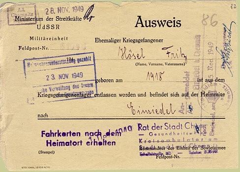 Entlassungsschein Kriegsgefangenschaft deutsch