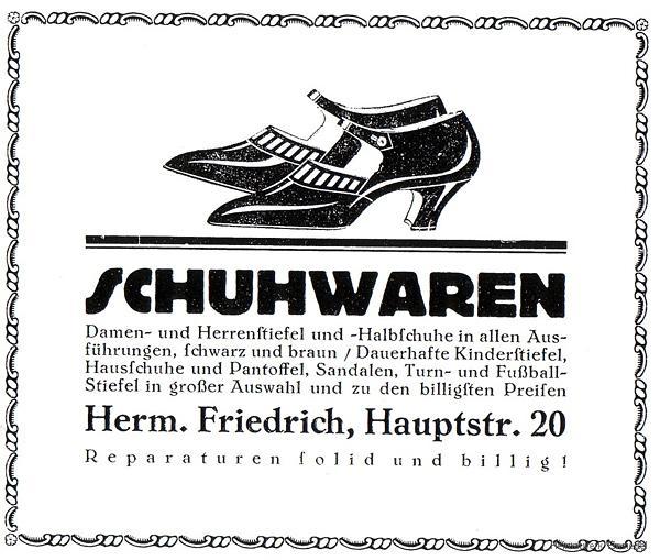Zeitungsannonce Hermann Friedrich Schuhwaren