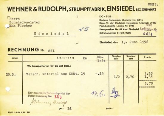 Rechnung Wehner & Rudolph Einsiedel 1956