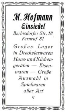 Annonce Max Hofmann Einsiedel 1926