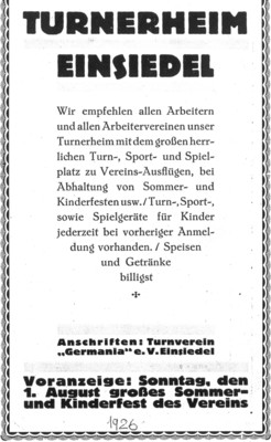 Turnerheim Einsiedel Annonce 1926