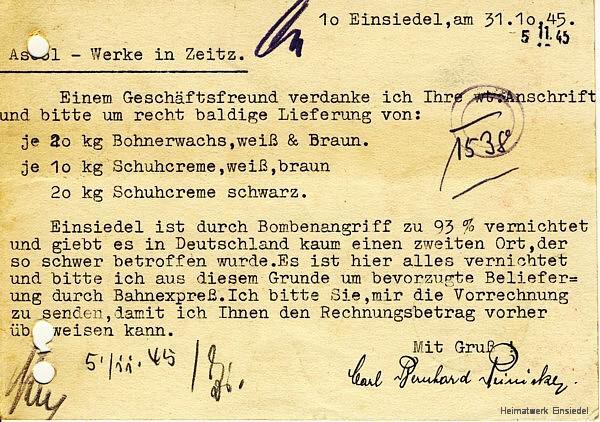 Lieferanfrage Bohnerwachs Oktober 1945