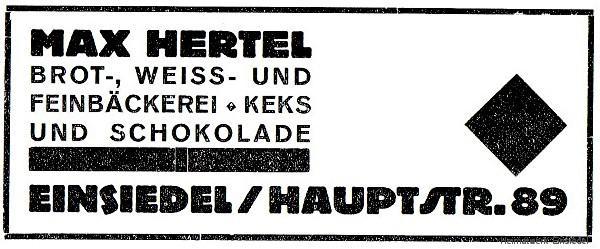 Reklame Bäckerei Hertel 1926