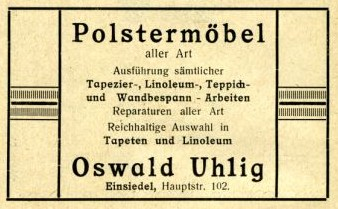 Annonce Polstermöbel Oswald Uhlig, Einsiedel 1926