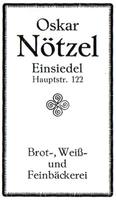Werbeannonce Bäckerei Oskat Nötzel 1926
