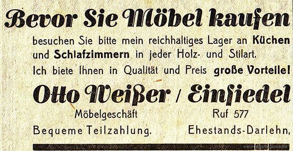 Reklameanzeige Tischlerei Weißer in Einsiedel 1935