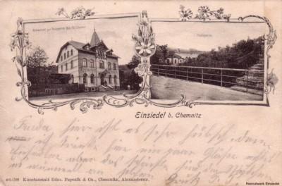 Ansichtskarte vom Restaurant zur Talsperre in Einsiedel um 1910