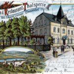 Restaurant zur Talsperre in Einsiedel, Lithografie um 1907