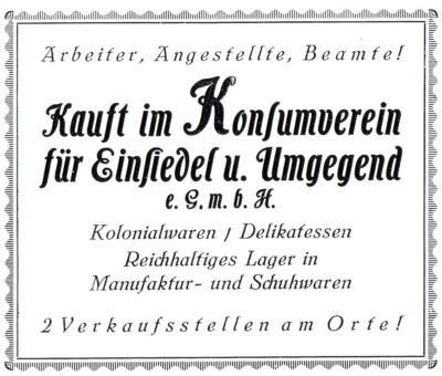 Reklameanzeige des Konsumverein Einsiedel 1926