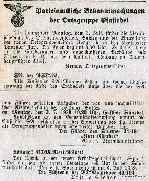 Wechsel des NSDAP-Ortsgruppenführers