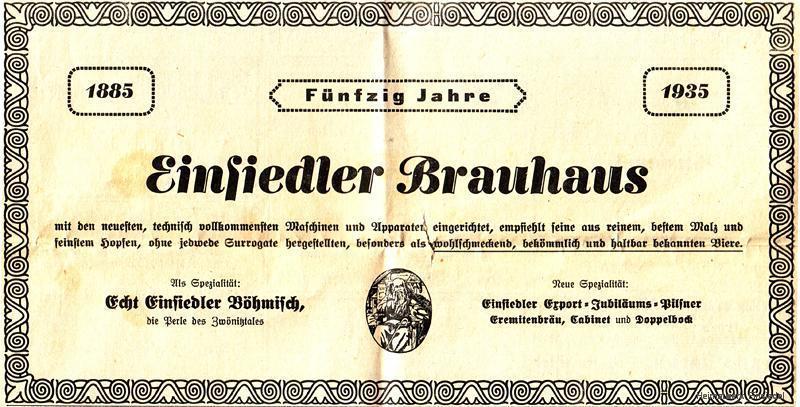 Reklameanzeige Einsiedler Wochenblatt 1935