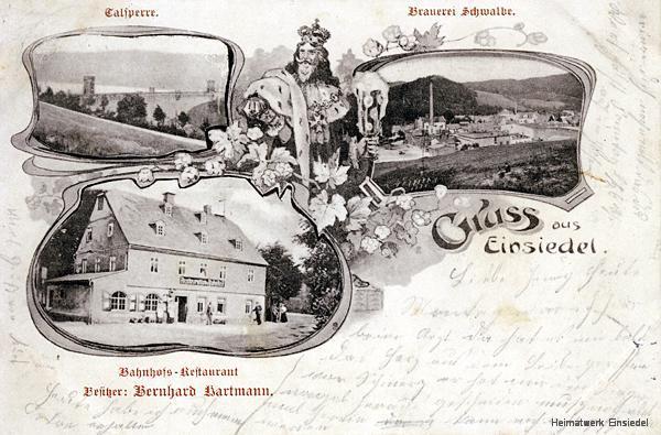 Restaurant zum Bahnhof, Ansichtskarte um 1904 mit Brauerei Schwalbe