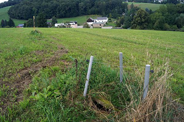 Kennzeichnung des Verlaufs der ehemaligen Abwassertrasse des volkseigenen Einsiedler BRauhauses 2013