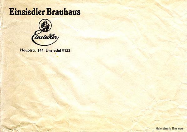 Briefumschlag aus den 1990er Jahren vom Einsiedler Brauhaus, Privatbrauerei