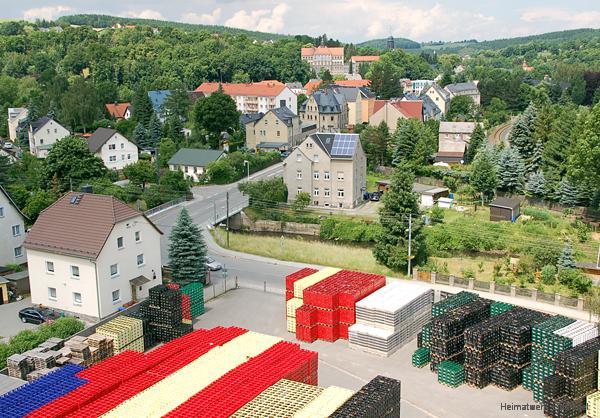 Blick vom Dach des Einsiedler Brauhauses auf das grundstück in der Hauptstr. 119 in Einsiedel, mit und ohne Roscher-Häusel