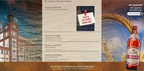 Screenshot Website Einsiedler Brauhaus März 2020.