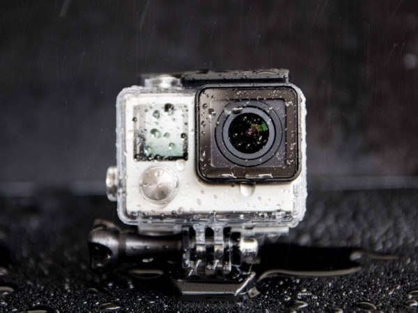closeup water splash on extreme camera  in waterproof