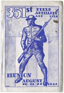ALT:Front Cover of 351st Field Artillery reunion booklet, 1942