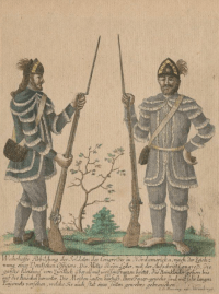 """""""A True Picture of the Congressional Soldiers in North America, according to the drawing of a German Officer,"""" c. 1783, Anne S.K. Brown Library."""