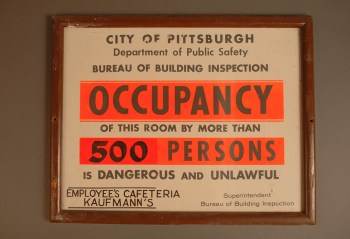 Sign that used to hang in the Kaufmann's Department story employee's cafeteria.