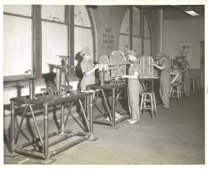 ALT:North Side plant employees build glider wings during World War II, 1943. H.J. Heinz Company Photographs, MSP 57, Senator John Heinz History Center.