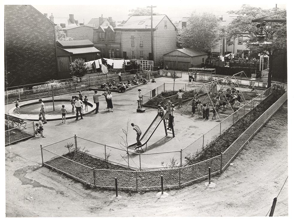 Hazelwood Parklet, 1950. Allegheny Conference on Community Development, Detre Library & Archives, Heinz History Center.