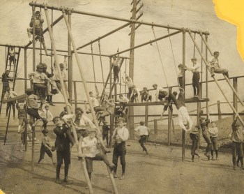 Play equipment, minus safety features, Washington Park, 1907. Gift of Mrs. Zerbie E. Swain.