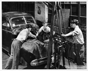 ALT:Auto Mechanic students at the Clifford B. Conelley Vocational High School, 1949. Pittsburgh Public School Photographs, MSP 117, Detre Library & Archives, Heinz History Center