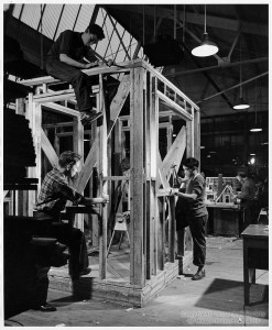 ALT:Students working on a carpentry project at Connelley Vocational High School, 1950. Pittsburgh Public School Photographs, MSP 117, Detre Library & Archives, Heinz History Center