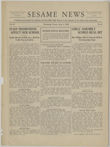 ALT:June 1928 edition of the South Hills High School student newspaper, Sesame News. Pittsburgh Public School Records, MSP 117, Detre Library & Archives, Heinz History Center