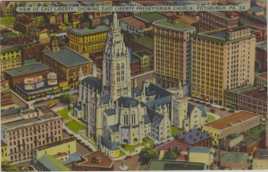ALT:View of East Liberty, showing East Liberty Presbyterian Church. General Postcard Collection, GPCC, Detre Library & Archives, Senator John Heinz History Center.