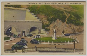 ALT:Entrance to the Liberty Tunnels, showing a traffic circle. General Postcard Collection, GPCC, Detre Library & Archives, Senator John Heinz History Center.