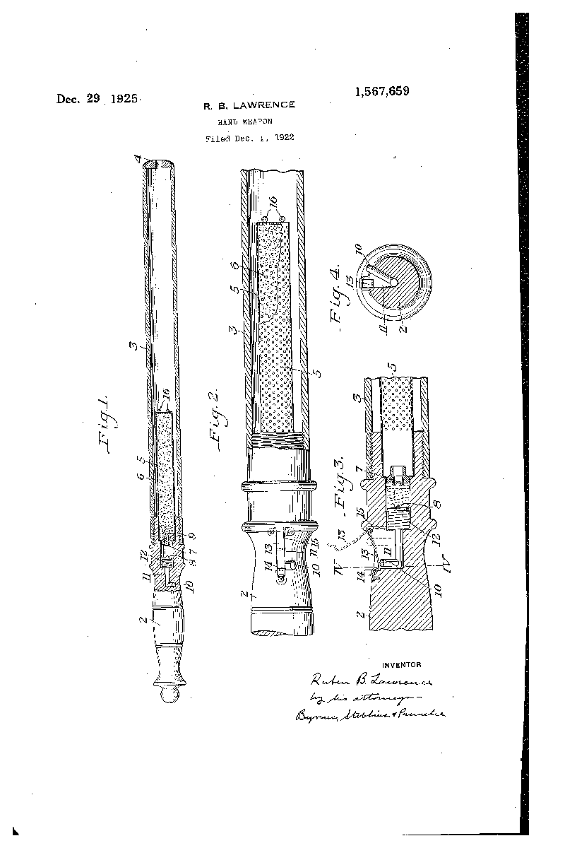 Patent drawing for a gas delivery hand weapon, filed December 1922   Uncovering Crime: Documenting Pittsburgh's Criminal Past   Heinz History Center