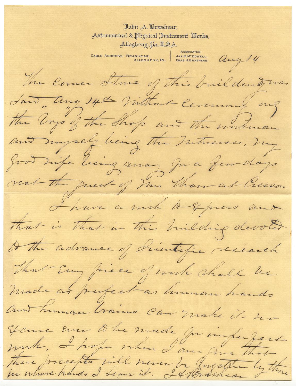 Letter written by John Brashear on Aug. 14, 1894, Heinz History Center.