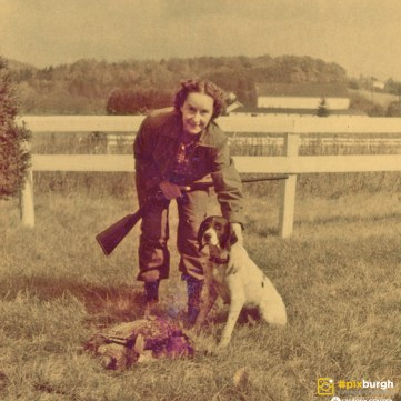 Evelyn Evans posing after a day hunting in the field, 1950s. | pixburgh: a photographic experience, Heinz History Center