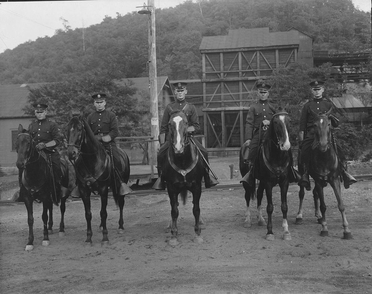 Mounted officers from the Vinton Colliery Company's coal and iron police, 1920s.