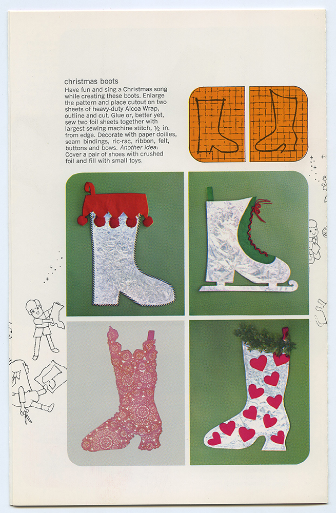 """Page from a """"Holiday decoration with Alcoa Wrap"""" booklet describing how to make Christmas boot decoration, c. 1965. Alcoa Company Records, MSS 282, Detre Library & Archives at the History Center."""
