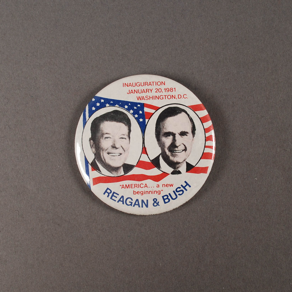 Button from Ronald Reagan's 1981 inauguration. | The Elaine B. and Carl Krasik Collection of Pennsylvania and Presidential Political Memorabilia, MSS 1068, Detre Library & Archives at the History Center.