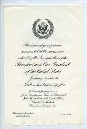 Invitation to the presidential inauguration, 1965. | Lyndon B. Johnson, MFF 1049 Detre Library & Archives at the History Center.